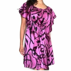 100% Silk Ruffled Tie-Waisted Dress